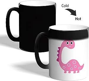 كوب القهوة السحري، اسود، بتصميم رسوم كرتونية - ديناصور