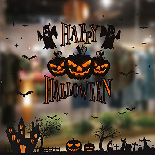 Diy Door Decorations For Halloween (Perpurs Halloween Windows Decals Sticker Removable DIY Windows Door Wallpaper Decal Sticker for Halloween Holiday Decoration Shop, Living Room, Bedroom Windows 13.8