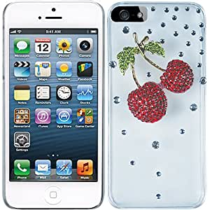 Silver Red Cherries Clear Crystal Diamond Rhinestone Bling Case Cover Faceplate For Apple iPhone 5 5S 5SE w/ Free Pouch