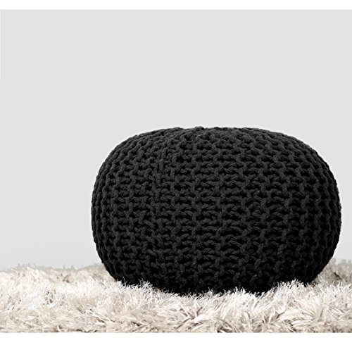 (RAJRANG BRINGING RAJASTHAN TO YOU Hand Knit Pure Cotton Pouf Black Braid Cord Stitched Round Ottoman Foot Stool Home Decorative Seat for Guests, 19x13,)