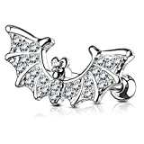 Dynamique CZ Paved Bat Wings 316L Surgical Steel Ear Cartilage/Tragus Barbell Stud (Sold per Piece)
