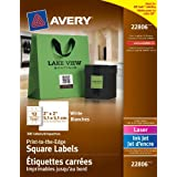 "Avery Print-to-the-Edge Square Labels for Laser and Inkjet Printers, 2"" x 2"", White, Square, 300 Labels, Permanent (22806) Made in Canada"