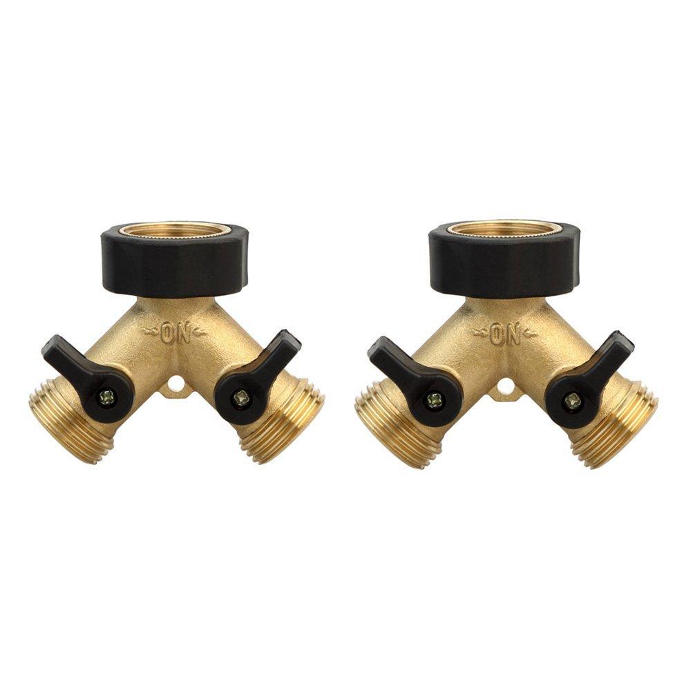 Heavy Duty 2 Way Water Hose Y Valve Splitter Garden Hose Connector Solid Brass 3/4 Thread Hose Adapter with Comfort Grip