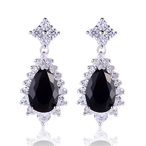 GULICX Vogue style Silver Tone Bule Sapphire Color Cubic Zirconia Fit Party Dangle Earrings by GULICX