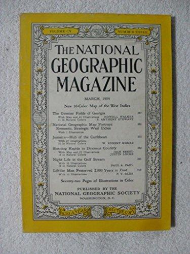 National Geographic MARCH 1954 Georgia, Jamaica Caribbean, Dinosaur Country