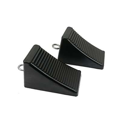 "ROBLOCK 2 Pack Rubber Wheel Chocks Black Wheel Wedge with Eyebolt, 7.8"" Length x 3.5"" Width x 3.9"" Height: Automotive"