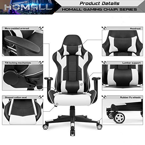 Homall Gaming Chair Racing Style High Back Pu Leather