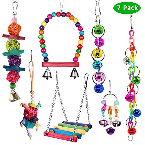 ACEONE Bird Toys Parrot Swing Toy with Colorful Wooden Beads Bells and Pet Bird Cage Hammock Hanging Chew Toys for Small…