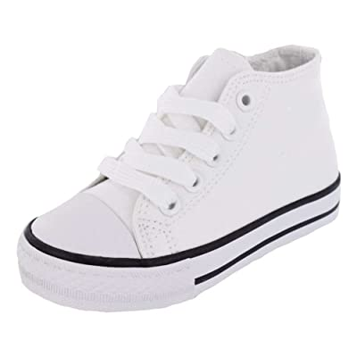 Cutey's White Canvas High Top Toddlers/Little Kids Shoes