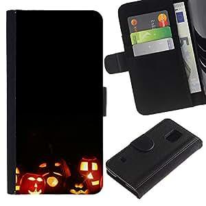 iKiki Tech / Cartera Funda Carcasa - Halloween Autumn Fall Pumpkin - Samsung Galaxy S5 SM-G900