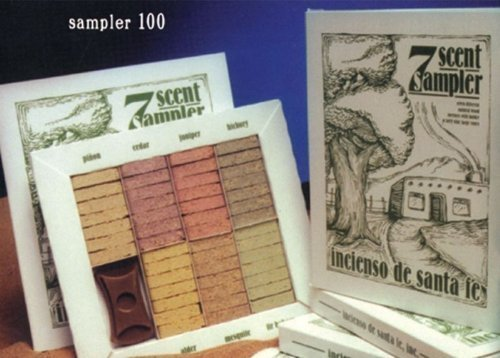 7 SCENT SAMPLER - NATURAL WOODINCENSES WITH HOLDER AND FORTY NINE BRICKS by Incienso de Santa - Fe Malls Santa