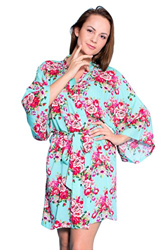 Taniri Cotton Floral Kimono Robes for Bride and Bridesmaids Wedding Party Gifts -
