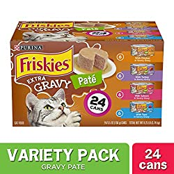 Send your cat's taste buds on a whirlwind flavor adventure with this Purina Friskies Extra Gravy Pate adult wet cat food variety pack. Each mouthwatering recipe features real poultry or fish, delivering the scrumptious goodness she loves no matter wh...