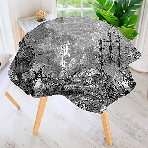 UHOO2018 Round Tablecloth-of Navarino Naval Armada Sinking Sailing Vessels Historical Warfare Portrait Waterproof Wine Tablecloth Wedding Party Restaurant 40