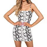 PASATO 2019 Sexy Fashion Women's Off The Shoulder Sleeveless Sling Snake Print Party Mini Dress(White,XL=US:L)