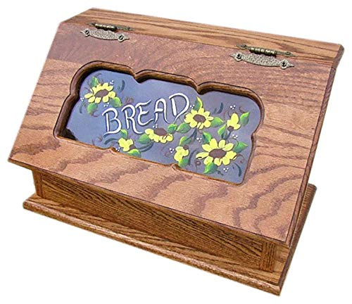 Amish Bread Box Painted Daisies Seely Stain All Amish Furniture