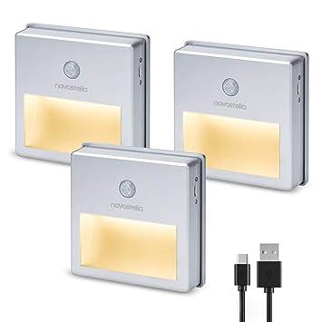 Novostella LED Nachtlicht Bewegungsmelder 3 Stück Aufladbar
