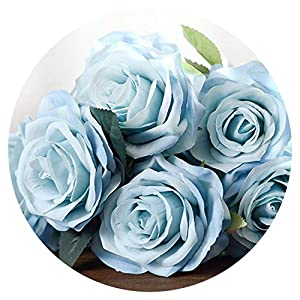 shine-hearty 10 Pcs/Set Silk French Real Touch Artificial Rose Flowers Wedding Bouquet Decorative Fake Flower for Wedding Home Decor Flores,Light Blue 78