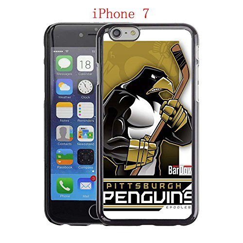 iPhone 7 Case, Penguins Hockey Team logo 24 Drop Protection Never Fade Anti Slip Scratchproof Black Hard Plastic Case
