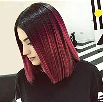 Aisi Hair Short Red Ombre Wigs For Black Women Burgundy Wigs Synthetic Straight 2 Tone Color Dark Roots Wine Red Hair Short Bob Wig Middle Part Bob Wigs by Aisi Hair
