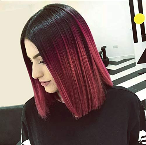 (AISI HAIR Short Red Ombre Wigs for Black Women Burgundy Wigs Synthetic Straight 2 Tone Color Dark Roots Wine Red Hair Short Bob Wig Middle Part Bob Wigs )