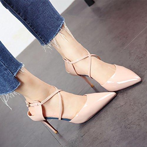 alti YMFIE sandali diagonali nuove appuntita mode alti tacchi b temperamento estate lacche tacchi Onorevoli UUq817