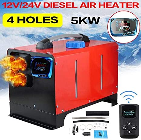 5KW Air Diesel Heater 12V Ideal for Truck Boat Bus Car Trailer Motor-homes Vehicle -White and Remote Control 4 Holes Diesel Parking Heater with LCD Thermostat Monitor All in One Diesel Air Heater