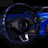 Mayco Bell Unisex's Car Steering Wheel Cover Shiny Snowflake 4 Colors Anti-Slip Cute for 15inches Women Blue