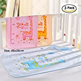 3 Pack B.B Bamboo Cotton 3-Layer Waterproof Baby Toddler Changing Pads Washable Resuable Diapers Liners Mats (3 Pack Giraffe-45x35)