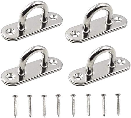 4pcs Stainless Steel Pad Eye Deck Oblong Plate Staple Ring Hook UK