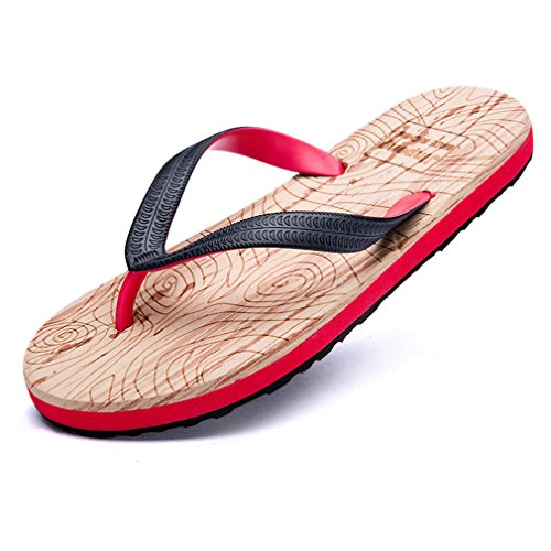GEXKO Men's Summer Beach Flip-Flop,Fashion Sandals(9.5 D(M)US,red)