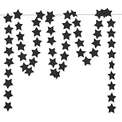 (Aonor Glitter Black Star Hanging Garland - Twinkle Paper Star Banner for Festival Home Wall Decoration, Birthday Party, Kids Room, 2.8