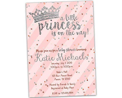 Amazon.com: Pink Gold Princess Baby Shower Invitations Girl Crown ...