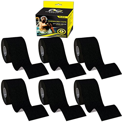 Physix Gear Sport 6 Pack Kinesiology Tape - Free Illustrated E-Guide - 16ft Uncut Roll - Best Pain Relief Adhesive for Muscles, Shin Splints Knee & Shoulder - 24/7 Waterproof Therapeutic Aid (Black) by Physix Gear Sport (Image #1)
