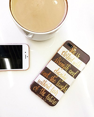 - iPhone X Girls Case,Bible Verses Quotes She Is Clothed with Strength & Dignity Proverbs 31:25 Cute Inspirational Motivational Black White Stripe Chevron Soft Case for iPhone X