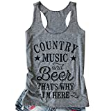 NATAY Women's Funny Country Music and Beer That's Why I'm Here Letters Print Tank Tops Summer Casual Loose Street Vest T-Shirt (Large, Grey)