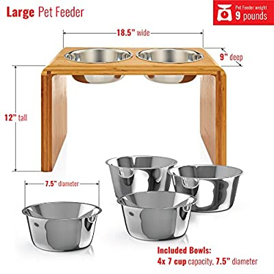 """Premium 12"""" Elevated Dog Pet Feeder, Double Bowl Raised Stand Comes with Extra Two Stainless Steel 56oz Bowls. Perfect for Large Dogs from Pawfect Pets"""