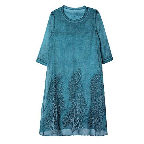 Bleu ZHUDJ Robe De Mousseline Mousseline D'_ LÂche Robe Broderie à Long Femmes De Grande Taille 3XL