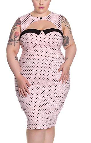 Rosafarben Pencil Miley Punkten Hell Bunny Dress 4664 Kleid schwarzen mit Etui Bqx0Hn7f