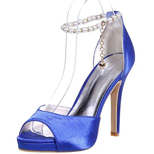 Loslandifen Womens Elegante Peep Toe In Raso Cinturino Alla Caviglia Piattaforma Tacchi Alti Spose Da Sposa Blu-b