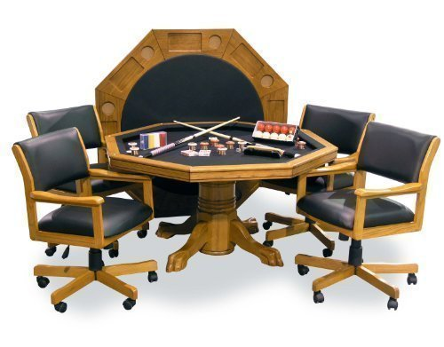 Fairview Game Rooms 3-in-1 Combination Game & Dining Table Set with 4 rocker-swivel chairs (Oak finish)