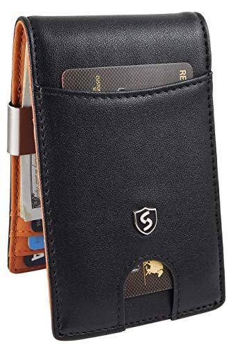 Cartera para Hombre Minimalista con Clip de Billetes con Bloqueo RFID - Billetera de Piel para Hombre - Tarjetero Minimalista...