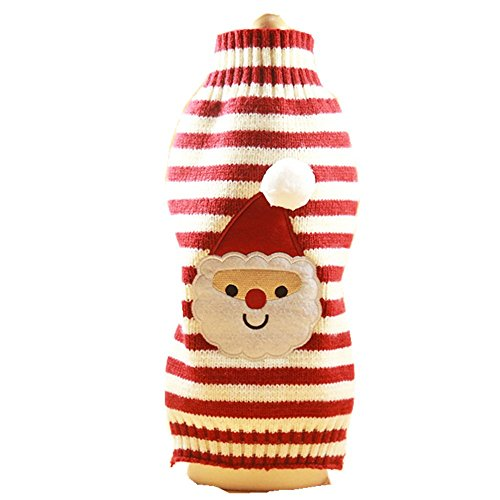 Dog Cat Sweater Christmas Costume Pet Clothes Puppy Apparel Soft and Warm (L, Santa)