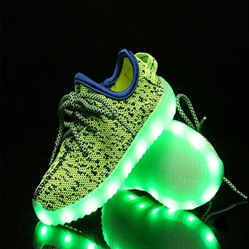 iBaste Niños Zapatos de Moda Zapatos Casuales Zapatos de Coco Luminosos LED Recargable Colores Amarillo