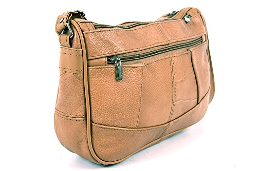 Tan zip Light Lorenz cowhide 3796 compartments leather handbag real twin with main qaPqAO