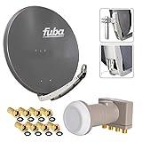 FUBA 4 Teilnehmer Digital SAT Anlage DAA850A anthrazit + Hochwertiger Quad LNB + 8 Vergoldete F-Stecker