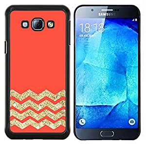 TECHCASE---Cubierta de la caja de protección para la piel dura ** Samsung Galaxy A8 ( A8000 ) ** --Melocotón Rosa Naranja Oro