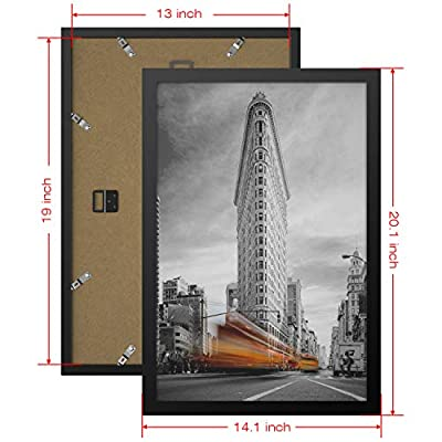 ONE WALL Tempered Glass 13x19 Poster Frame, Black Wood Photo Picture Frame for Wall Vertically or Horizontally Display - Mounting Hardware Included