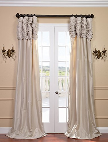 Cheap HPD HALF PRICE DRAPES Half Price Drapes PTCH-130907-84-RU Ruched Faux Silk Taffeta Curtain, Antique Beige