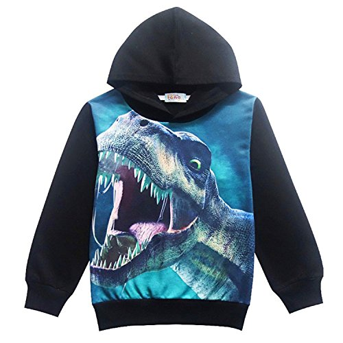 Boys Angry Dinosaur Hoodie Pullover Sweatshirt, Kids Halloween Hoodies Long Sleeve T shirt Tops (Halloween Kids Sweatshirt)